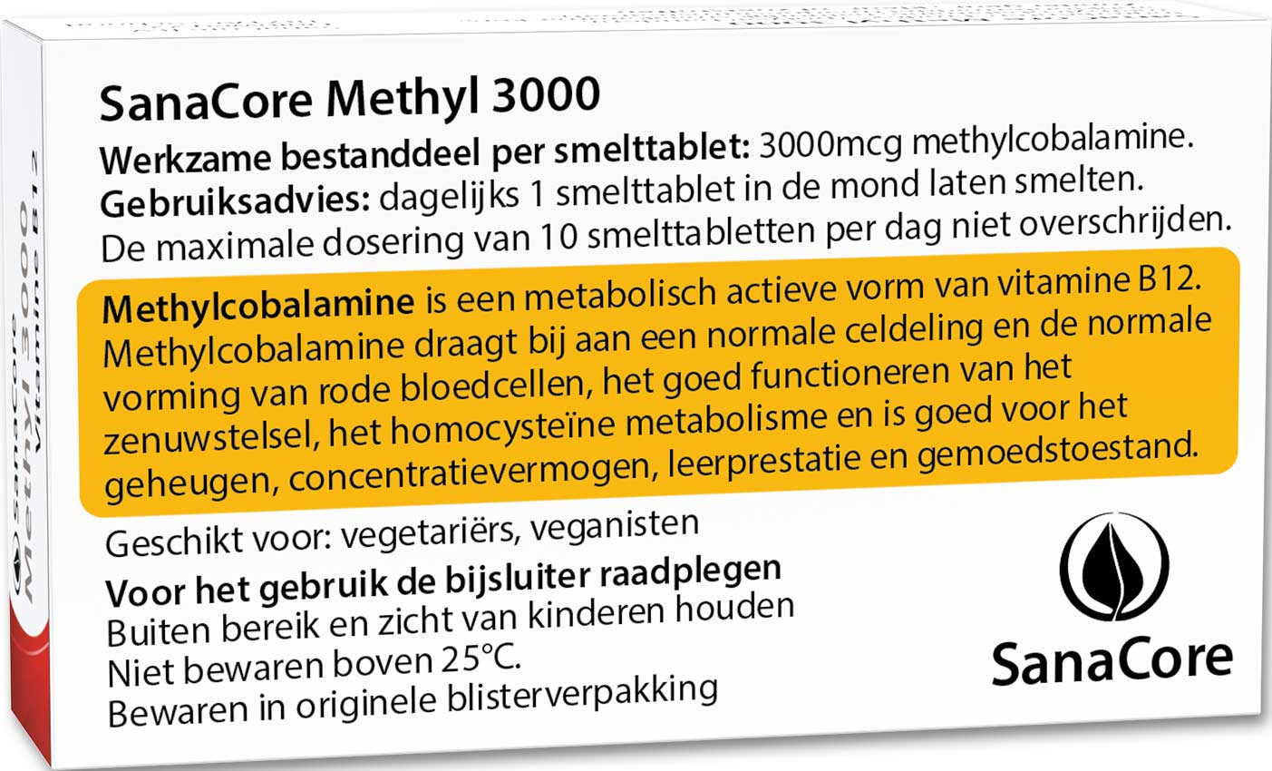 SanaCore Methyl 3000 ZONDER FOLIUMZUUR